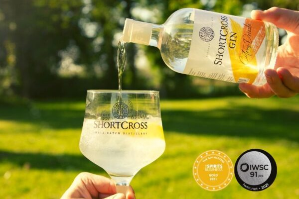 Shortcross Citrus Drizzle Gin awarded Gold and Silver